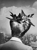 Woman Showing Her Fashionable Wartime Hairstyle Called Winged Victory