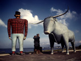 Painted Concrete Sculpture of Paul Bunyon and His Blue Ox  Babe Standing on Shores of Lake Bemidji