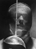 Portrait of Fencer Wearing Sabre Mask
