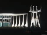 Sculptures in Front of Oscar Niemeyer Designed Building Lit Up at Night