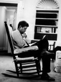 President John F Kennedy Sitting Alone  Thoughtfully  in His Rocking Chair in the Oval Office