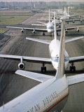 Airplane Traffic Jam on JFK Airport Runway  August 1968