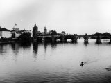 View of the Charles Bridge Spanning the Vltava River Outside Prague