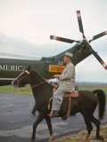 President Lyndon Johnson Riding Horse on His Ranch Morning After Winning Election