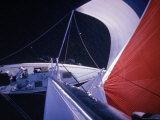 Red Topped Spinnaker Bellying Out from Nefertiti&#39;s Towering Mast During America&#39;s Cup Trials