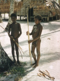 Two Naked Native Male Children with Bows and Arrows Standing on White Beach  Santa Cruz Island