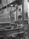 Power Loom at Work Making a Haircord Carpet at the Wilton Carpet Factory