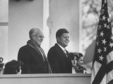 President John F Kennedy Stands at His Inauguration Ceremonies with His Father Joseph P Kennedy