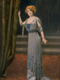 Model Wearing Blue Beaded Robe du Soir  or Evening Dress Designed by Paquin