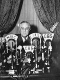 "President Franklin D Roosevelt Making a ""Fireside Chat"" Speech on Radio During WWII"