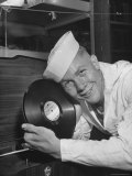 US Sailor Holding a Phonograph Record