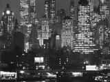Night Panorama of New York City Buildings