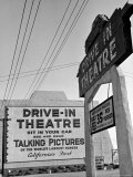 Sign For the World's Largest Screen at Entrance to Drive in Theatre  Admission 35 Cents a Person