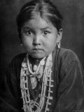 Portrait of Small Girl in Costume  Who is Native American Navajo Princess