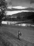 Scottish Farm Girl Walking Along a Trail Where Wordsworth Wrote Some of His Poetry