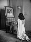 Yogi Sri Aurobindo's Photograph Being Worshipped by Woman in Sari