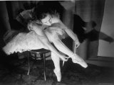 Premier Ballerina Semionova Tying Her Toe Shoe Before a Performance at the Great Theater