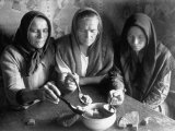 Russian Peasant Women Eating Food From the Same Bowl
