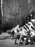 Men Preparing to Launch Oceanliner America at Shipyard