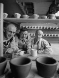 Three Oldest Employees at Wedgwood Ceramic Plant Posing For Photograph
