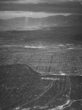 San Fernando Valley Seen from Point over Hollywood Building Atop Mountain is Don Lee TV Station