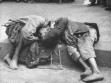 Two Young Children Dying Together in Gutter During Famine  Unable to Get Enough Food from Begging