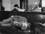 Soldier Sleeping on Bench in Waiting Room at Pennsylvania Station