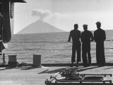 Sailors Watching Smoke Coming Out of the Top of Mt Stromboli