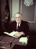 President Franklin D Roosevelt Before Broadcasting Sixth War Loan Drive  in His Office