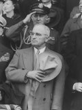"President Harry S Truman Saluting ""Star Spangled Banner"" at Opening Game of Baseball Season"