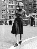 Model in Hat  Sweater and Skirt  Appearing to Balance on Curb  c1938