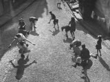 Spanish Refugee Children Playing in Street