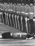 Member of Honor Guard Lying on the Ground After Fainting During Ceremonies For Queen Elizabeth