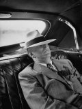 Senator Richard B Russell Sleeping in Car with Hat Pulled over His Eyes