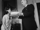 President Lyndon B Johnson and Daughter Lucy During Her 17th Birthday Party