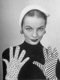 Model Martha Boss  Modeling Mismatched Gloves