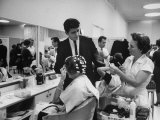 Women Getting Hair Styled in Beauty Salon at Saks Fifth Ave Department Store