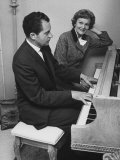 Richard M Nixon Playing the Piano After He Voted in the California Elections