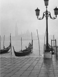 Moored Gondolas on a Foggy Grand Canal with Santa Maria Della Salute Church in the Background