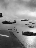 Navy Grumman Avenger Torpedo Bombers Flying Toward Their First Naval Air Strike on Japan