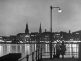 Night Time View of the City of Hamburg  Looking Across River at the New Post War Construction