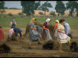 Peasant Women Bundling Flix with Their Feet an Occupation That Has Been Practiced For Centuries