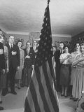 Members of John Birch Society Pledging Allegiance to Flag at Meeting