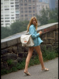 Woman Wearing Very Short Miniskirt and Sandals