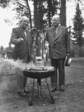 President Dwight D Eisenhower Cooking Steaks with Former President Herbert C Hoover