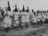 Masked Dancers of Rural Tribe Waiting Turn  on Their Noses Are Medals Commemorating the Trip
