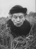 Mrs Margaret Morse Nice Lying Flat in Grass to Study Nest of Baby Field Sparrows