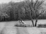 Member of the Us Equestrian Team Jumping the Hurdles in the Fields During the Pre Olympic Practices