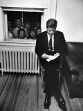 Senator John F Kennedy Checking over Speech During His Presidential Campaign