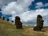 View of Several Moai on a Hill Inside a Crater